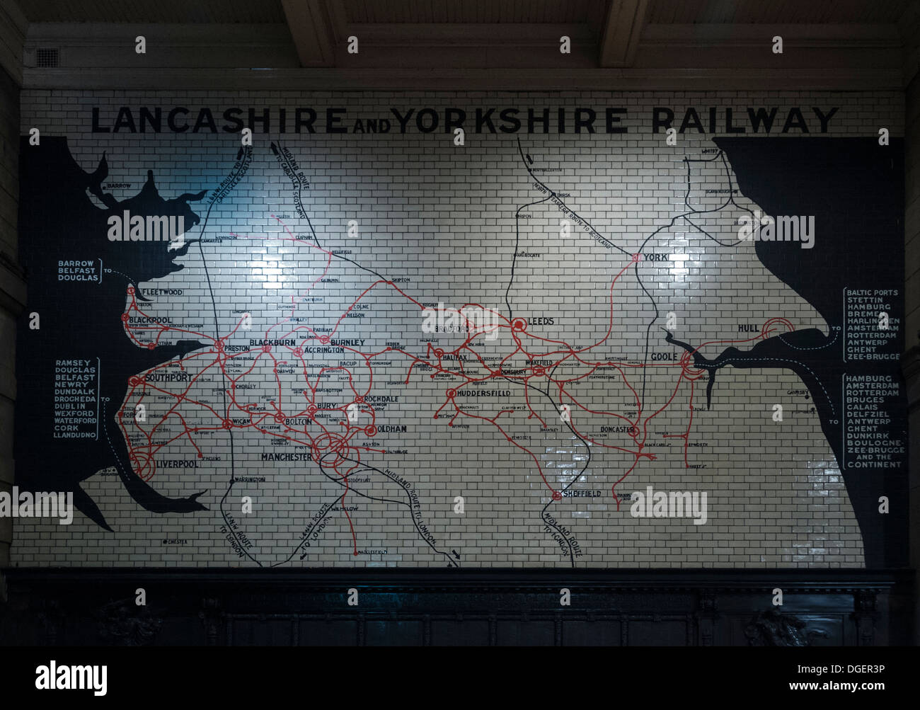 Map of the Lancashire and Yorkshire Railway routes on a wall at Victoria Station, Manchester, England, UK - Stock Image