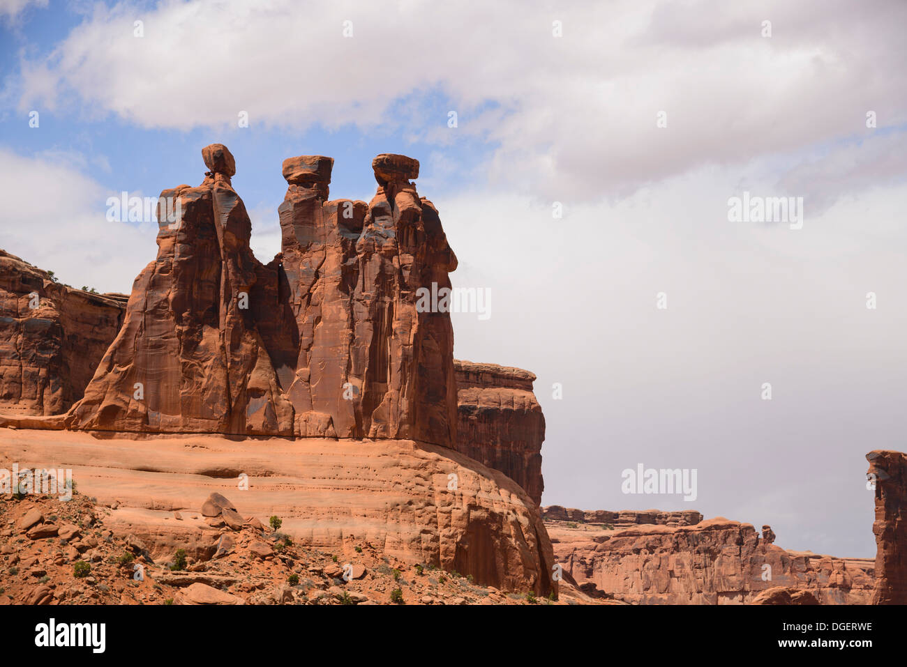 The Three Gossips, near Couthouse Towers, Arches National Park, Utah, USA - Stock Image