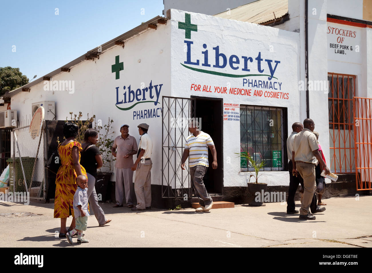 Africa pharmacy chemist shop, Livingstone, Zambia, Africa Stock Photo