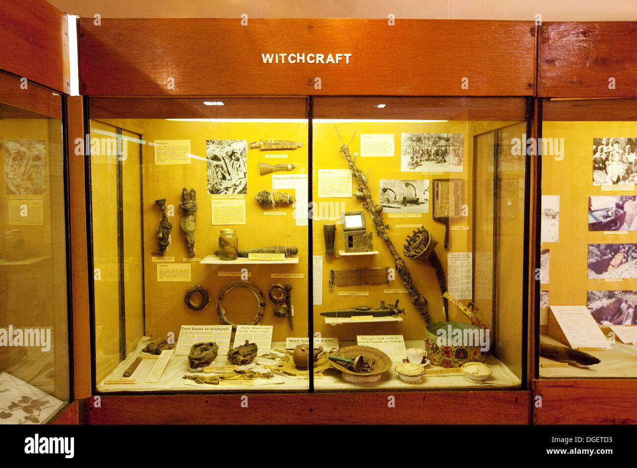 A display on Witchcraft, Livingstone Museum, Zambia, Africa - Stock Image