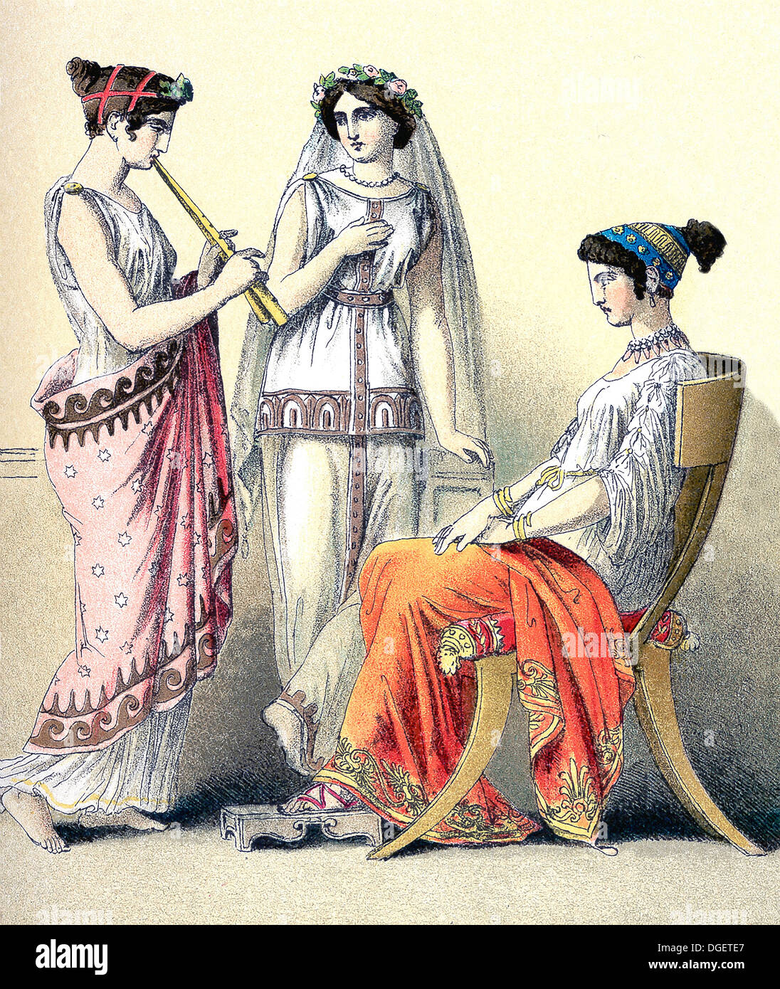 The figures illustrate Greek women, from left to right: flute-player and two women of the upper classes. - Stock Image