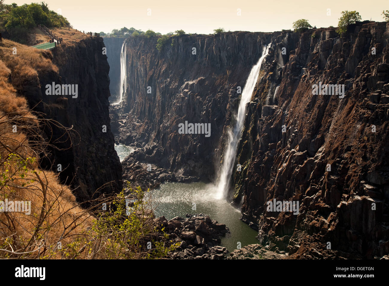 The Victoria Falls in the Dry Season (October) on the Zambia side in the evening, Zambia Africa - Stock Image