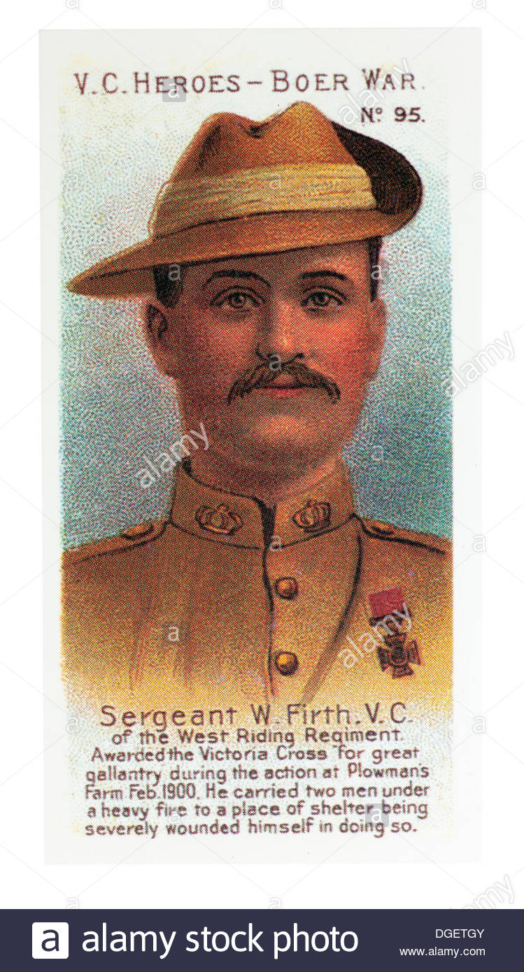 Sergeant W Firth was awarded the VC during action at Plewmans Farm, Cape Colony 1900. Card by Taddy and Co 1902. Editorial Only - Stock Image