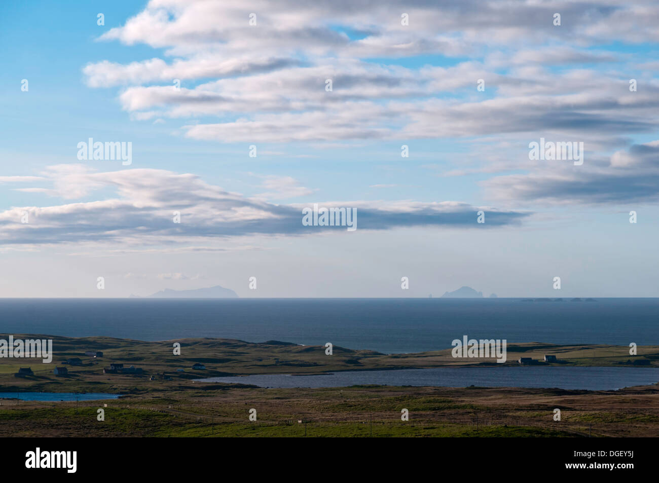 Looking Across the Atlantic Ocean at the St Kilda Archipelago from North Uist - Stock Image