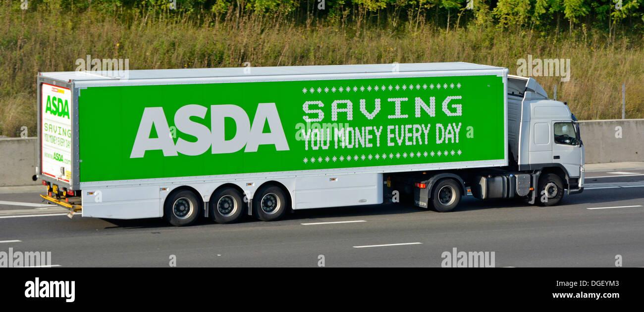 Asda supermarket trailer and lorry advertising saving money - Stock Image