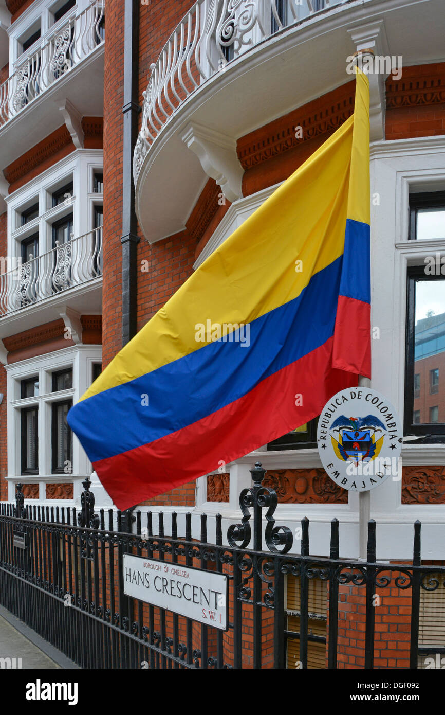 National flag outside the Embassy of Colombia in Hans Crescent London - Stock Image