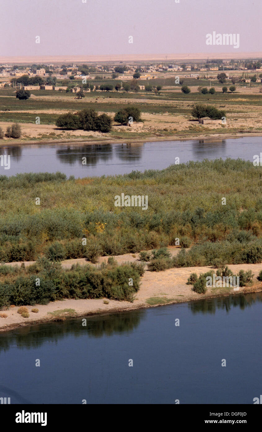 The Euphrates river seen from the ruins of Mari in Abu Kemal