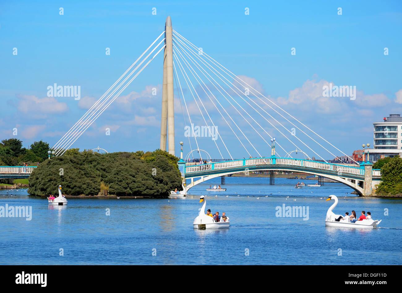 The marine way bridge over marine lake in Southport, Lancashire, UK - Stock Image