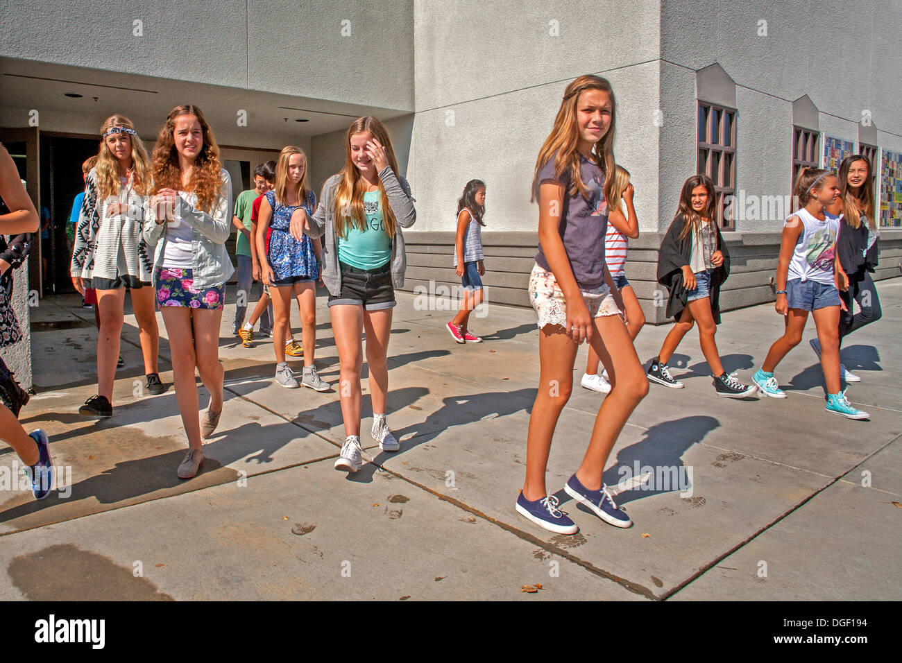 Mission Viejo Ca Middle School Teen Girl Students Walk Out Of The School Building