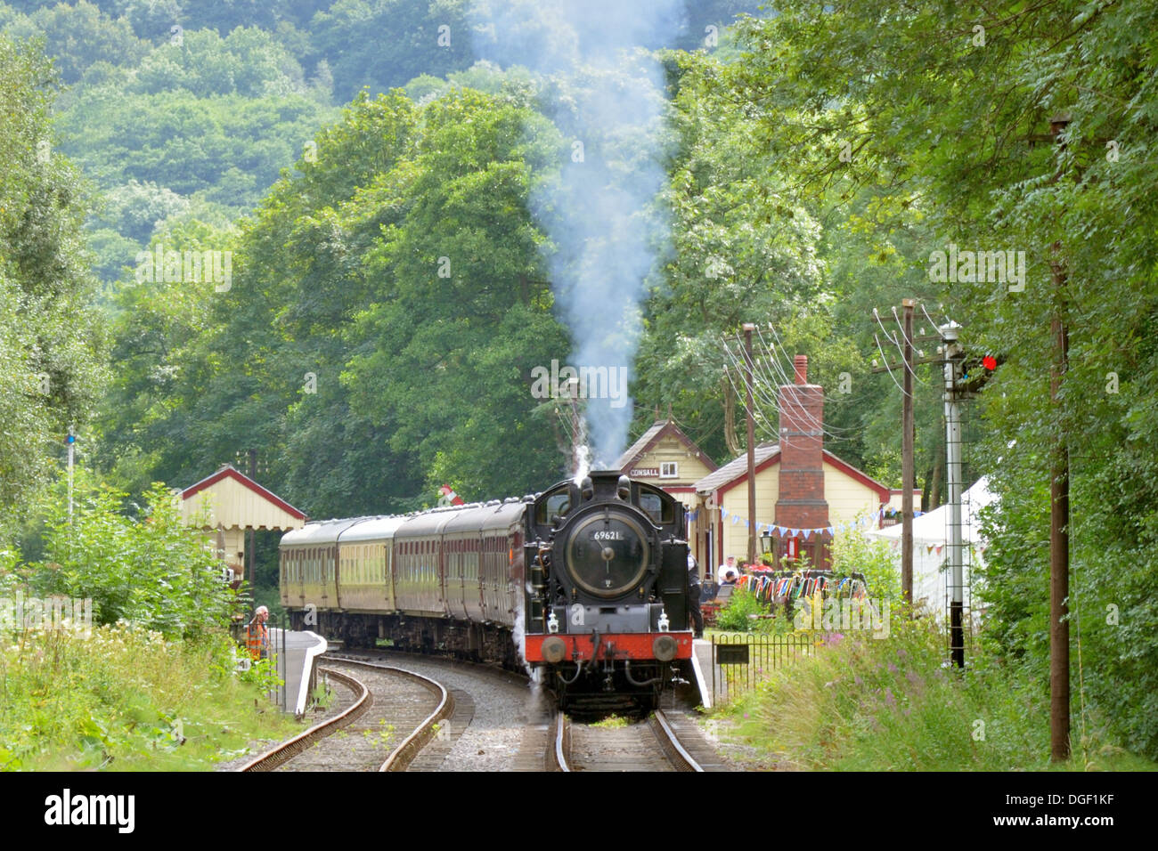 Steam Train at Consall Station - Churnet Valley Railway - Stock Image