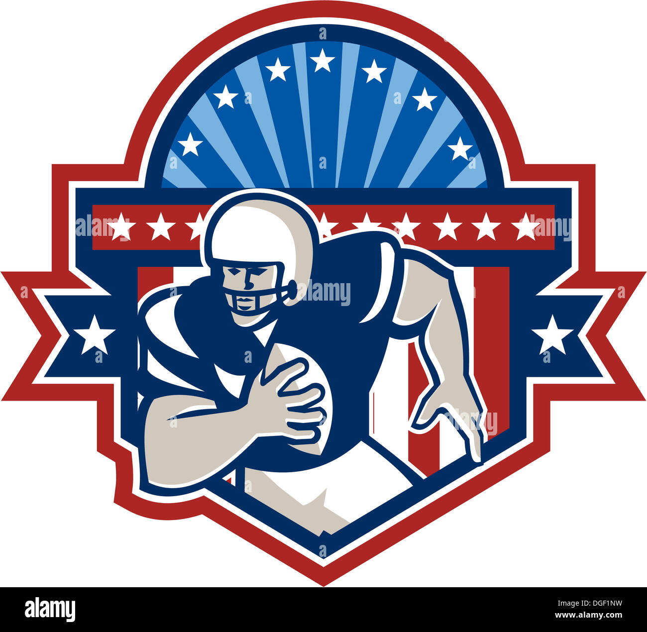 da4ccb36b74 Illustration of an american football gridiron quarterback player throwing  ball facing front set inside crest shield with ribbon