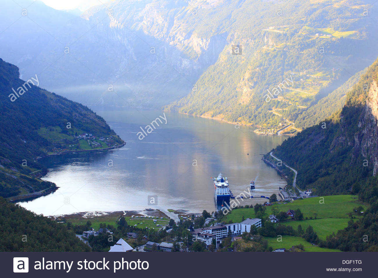 Geiranger is a small tourist village in Sunnmøre region of Møre og Romsdal county in the western part of Norway. - Stock Image