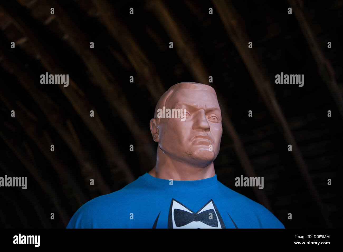 Close Combat UFC Boxing Mannequin Dummy in a bow tie t-shirt - Stock Image