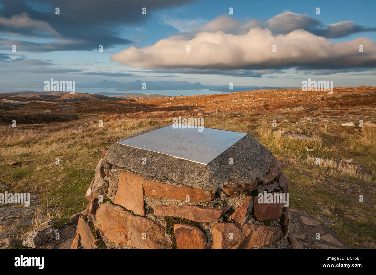 Trigpoint at Carn Glas viewpoint, summit of the Bealach na Ba pass, Scottish Highlands, Scotland, Great Britain - Stock Image