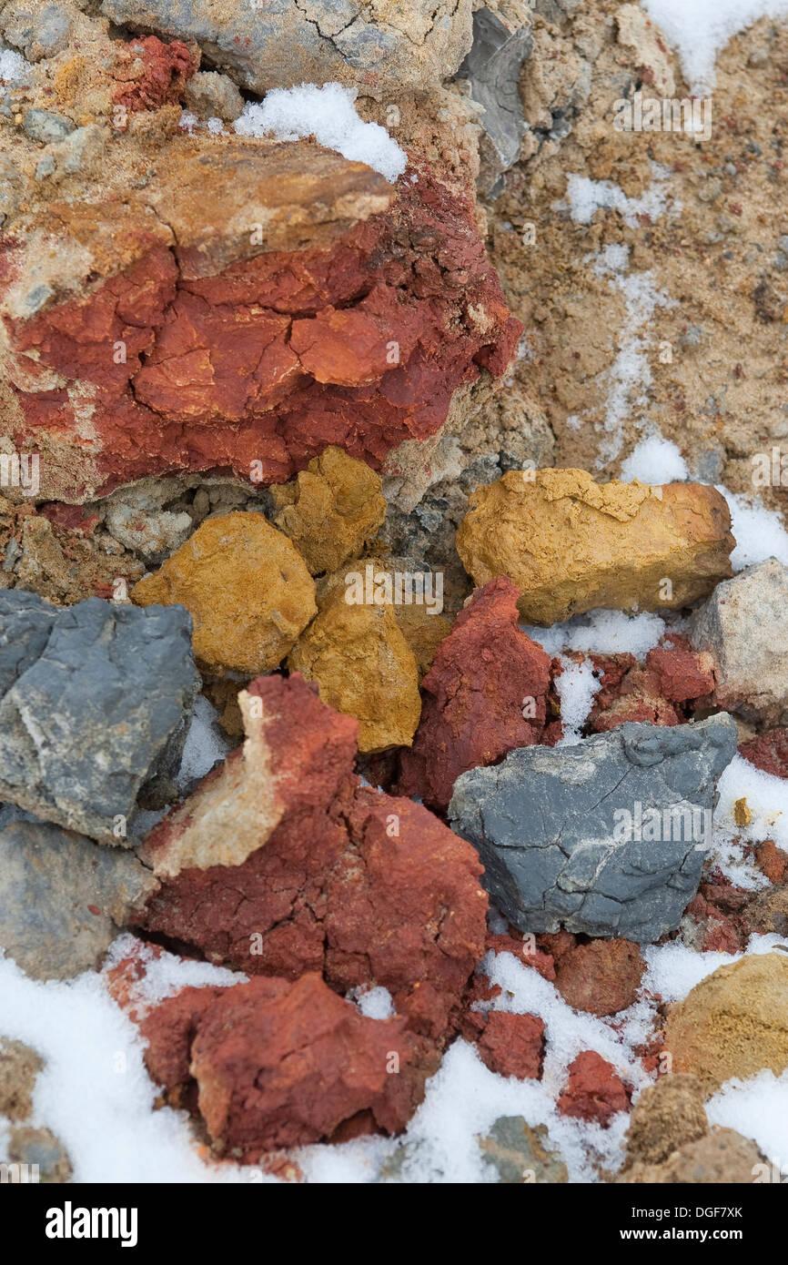 colored ground, colorful, multicolored, loam, mud, clay, argil, Bunte Erde, Erdfarben, Boden, Lehm, Ton, farbig, Farbe - Stock Image