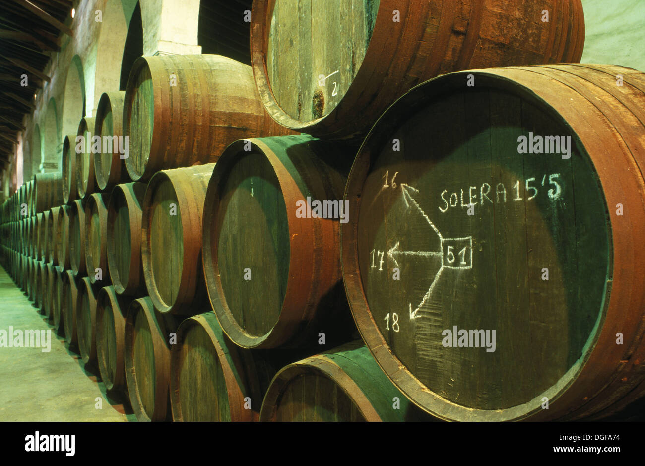 Condado de Huelva (Quality Wine Produced in Specific Region appellation) wine cellar Bollullos. Huelva province Andalusia & Condado de Huelva (Quality Wine Produced in Specific Region Stock ...