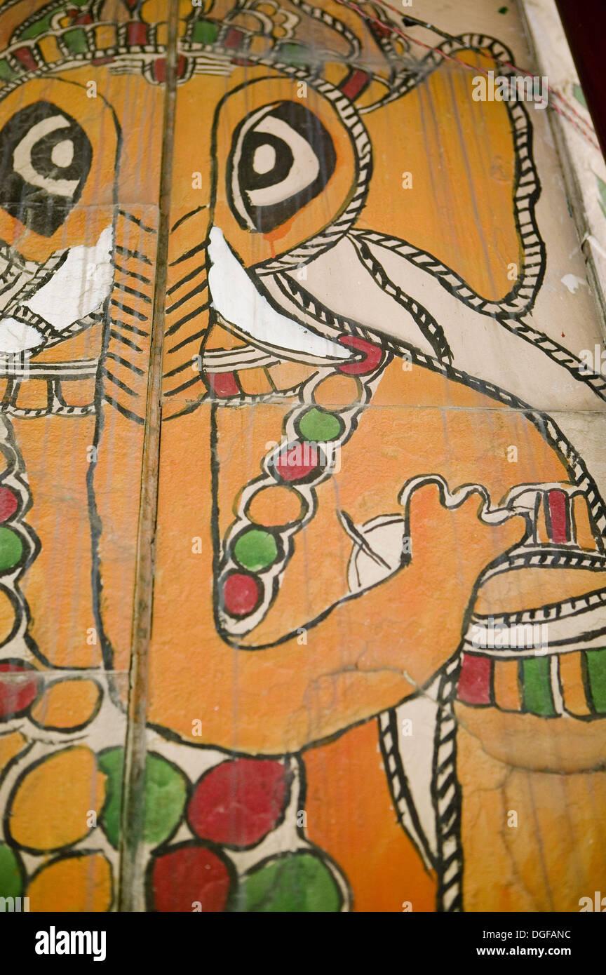 Indian painting of Ganesh the Elephant God. New Delhi. India. - Stock Image