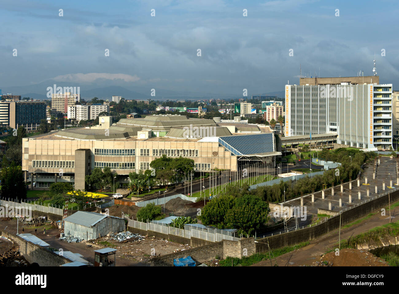 Headquarters of the United Nations Economic Commission for Africa, ECA, conference centre to the left, administration building - Stock Image