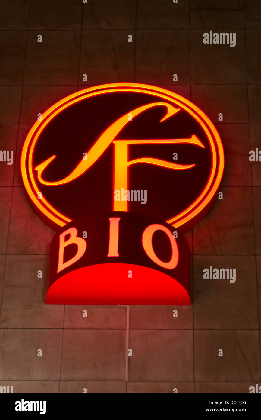 Sf biograf sign in Sweden. Light with Neon lights - Stock Image