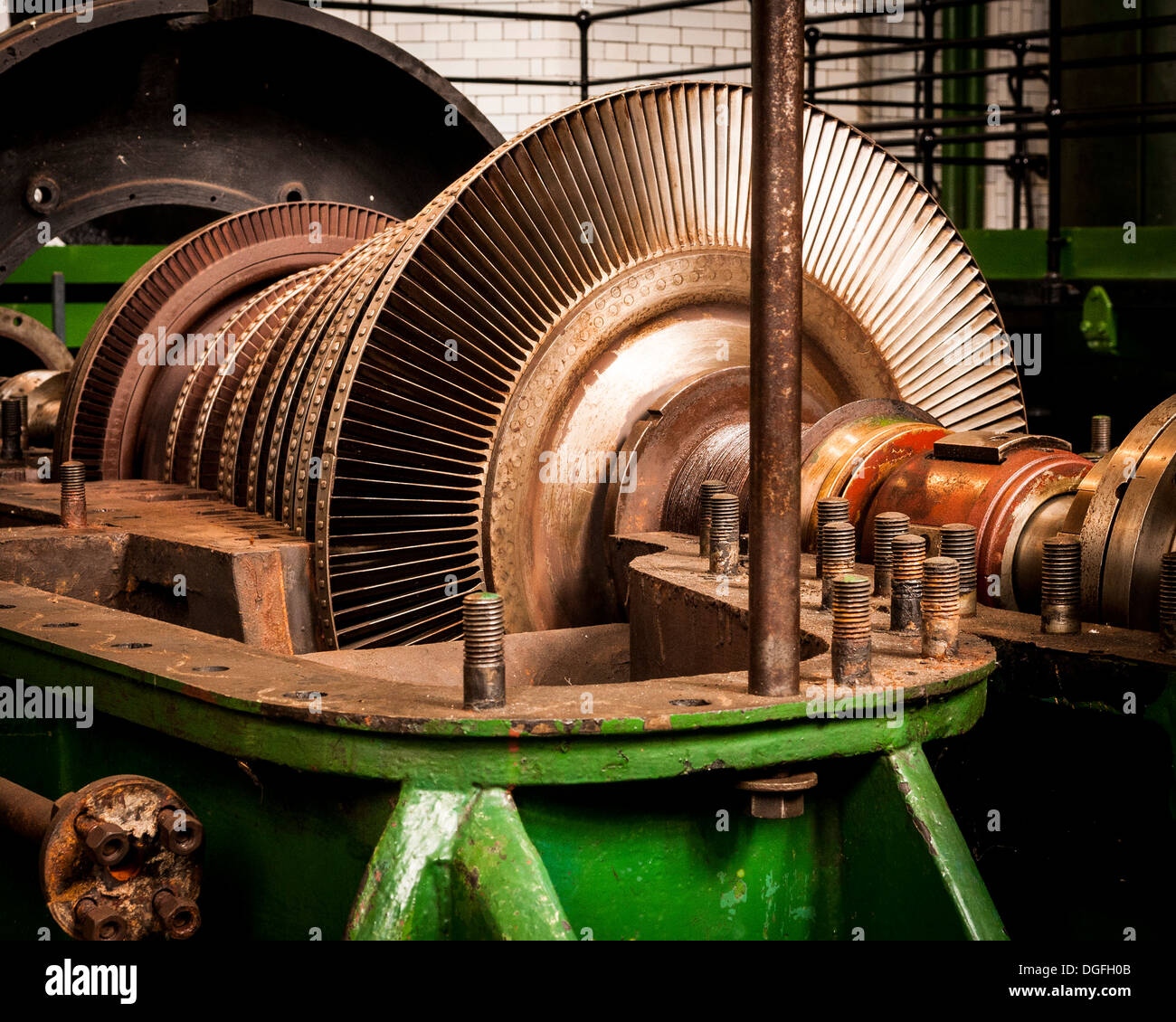 Kempton Park Waterworks, Kempton Park, United Kingdom. Architect: unknown, 1929. Lateral view of turbine. Stock Photo