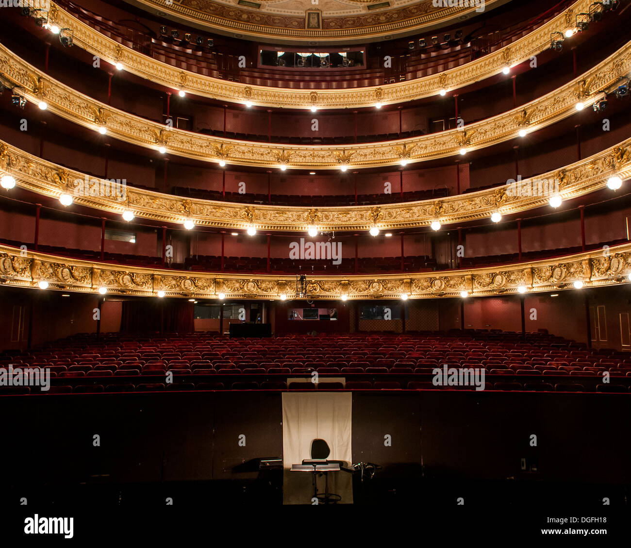 The Royal Danish Theatre (Det Kongelige Teater), Copenhagen, Denmark, 1874. Stock Photo