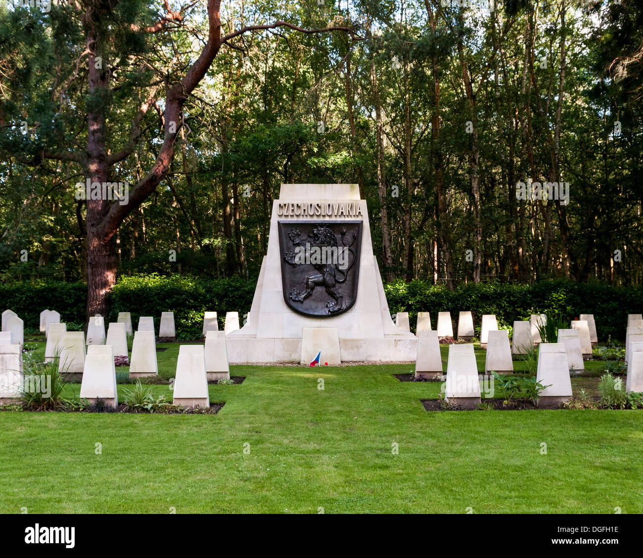 Brookwood Military Cemetery and memorials, Brookwood, United Kingdom. Architect: unknown, 2013. Czechoslovakia memorial. Stock Photo