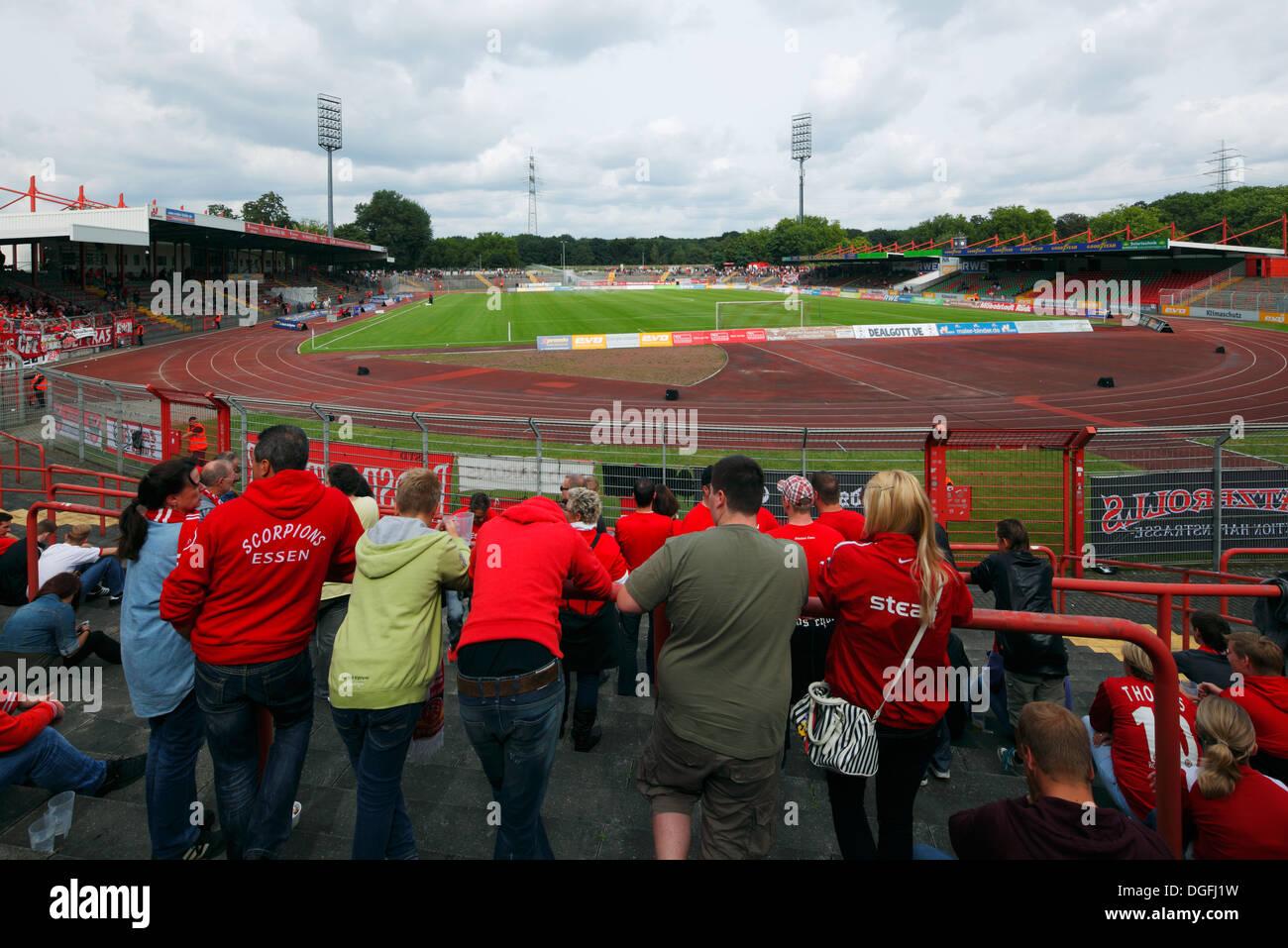 sports, football, Regional League West, 2013/2014, Rot Weiss Oberhausen versus Rot Weiss Essen 2:0, Stadium Niederrhein in Oberhausen, stadium view, football fans of RW Essen - Stock Image