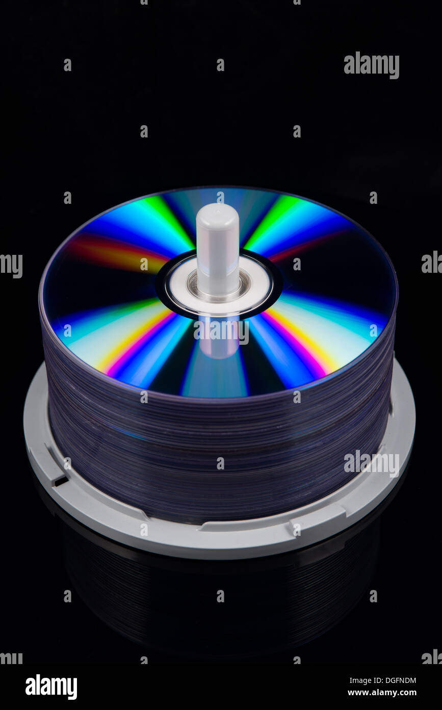 stack of dvd's, cd's - Stock Image