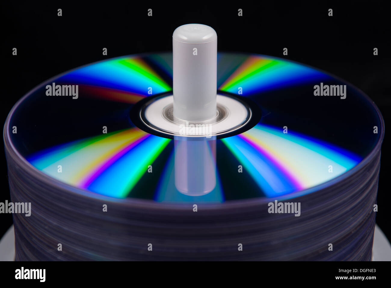 stack of dvd's, cd's close up - Stock Image
