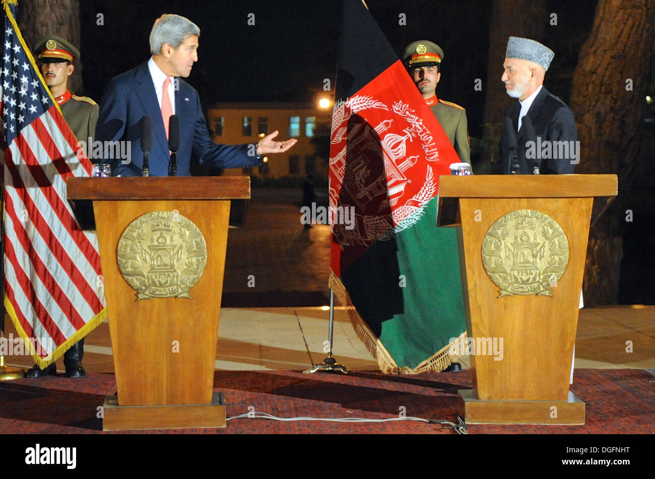 Secretary Kerry Discusses Bilateral Security Agreement With Afghanistan - Stock Image