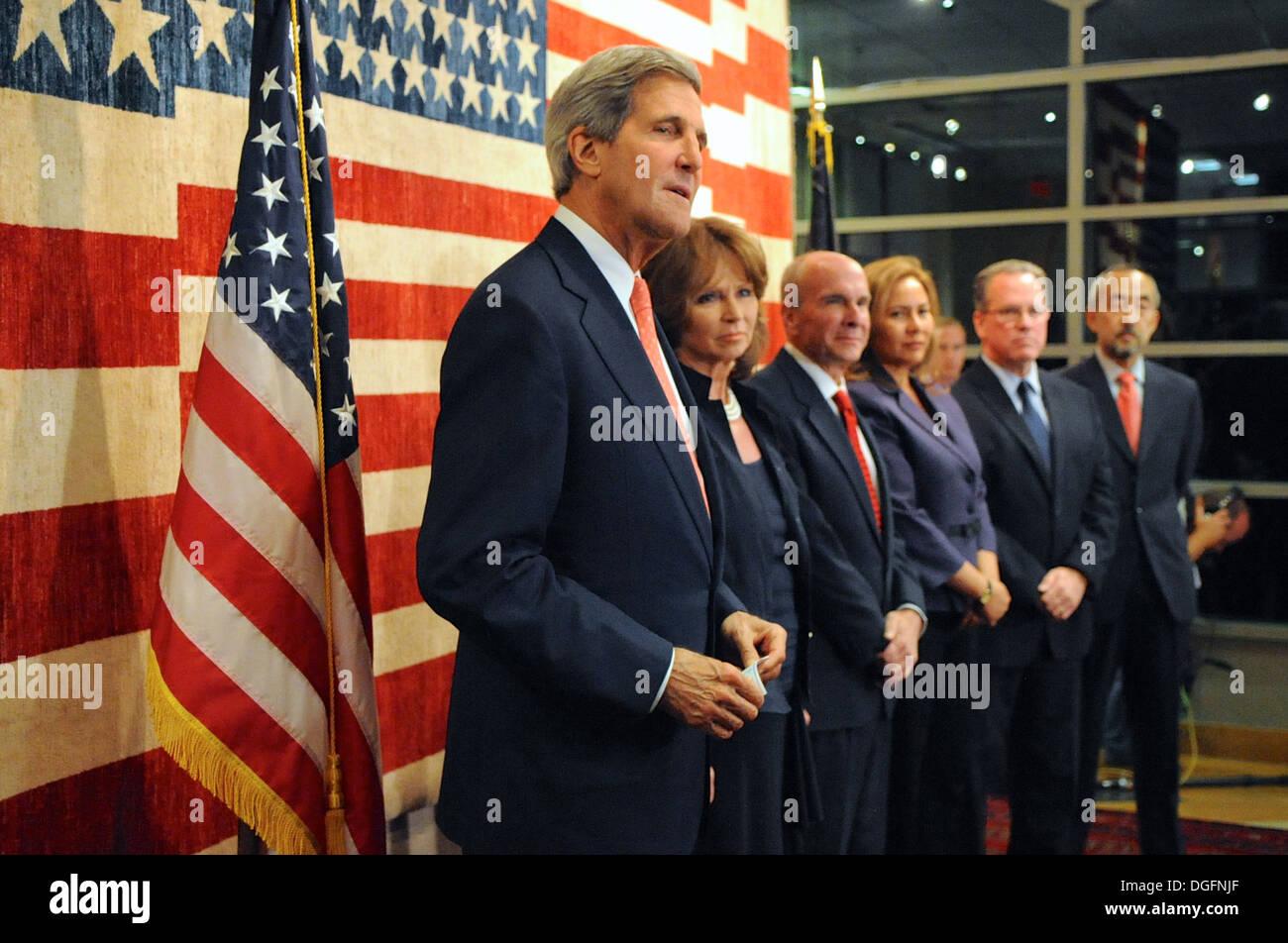 Secretary Kerry Attends Embassy Kabul Meet-and-Greet - Stock Image