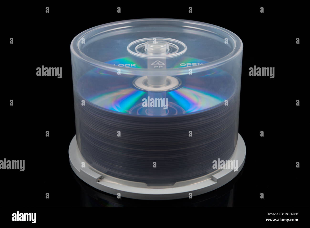 stack of dvd's, cd's on a spindle Stock Photo