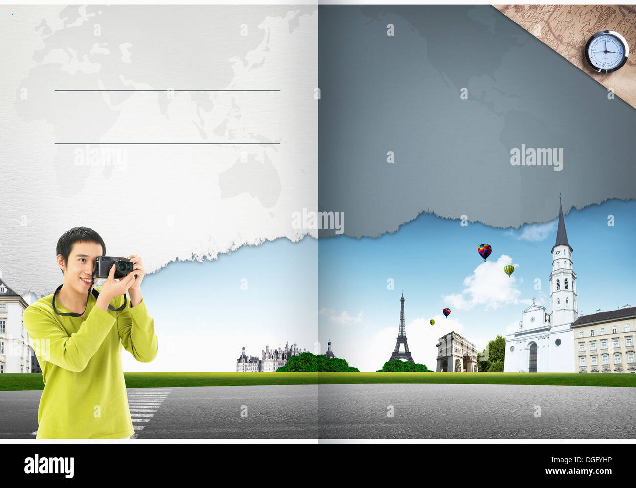 travel booklet template featuring tourist attractions stock photo