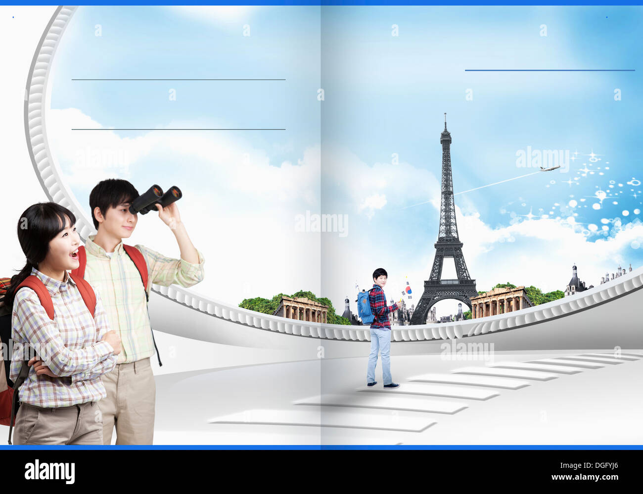 travel booklet template featuring European sights Stock