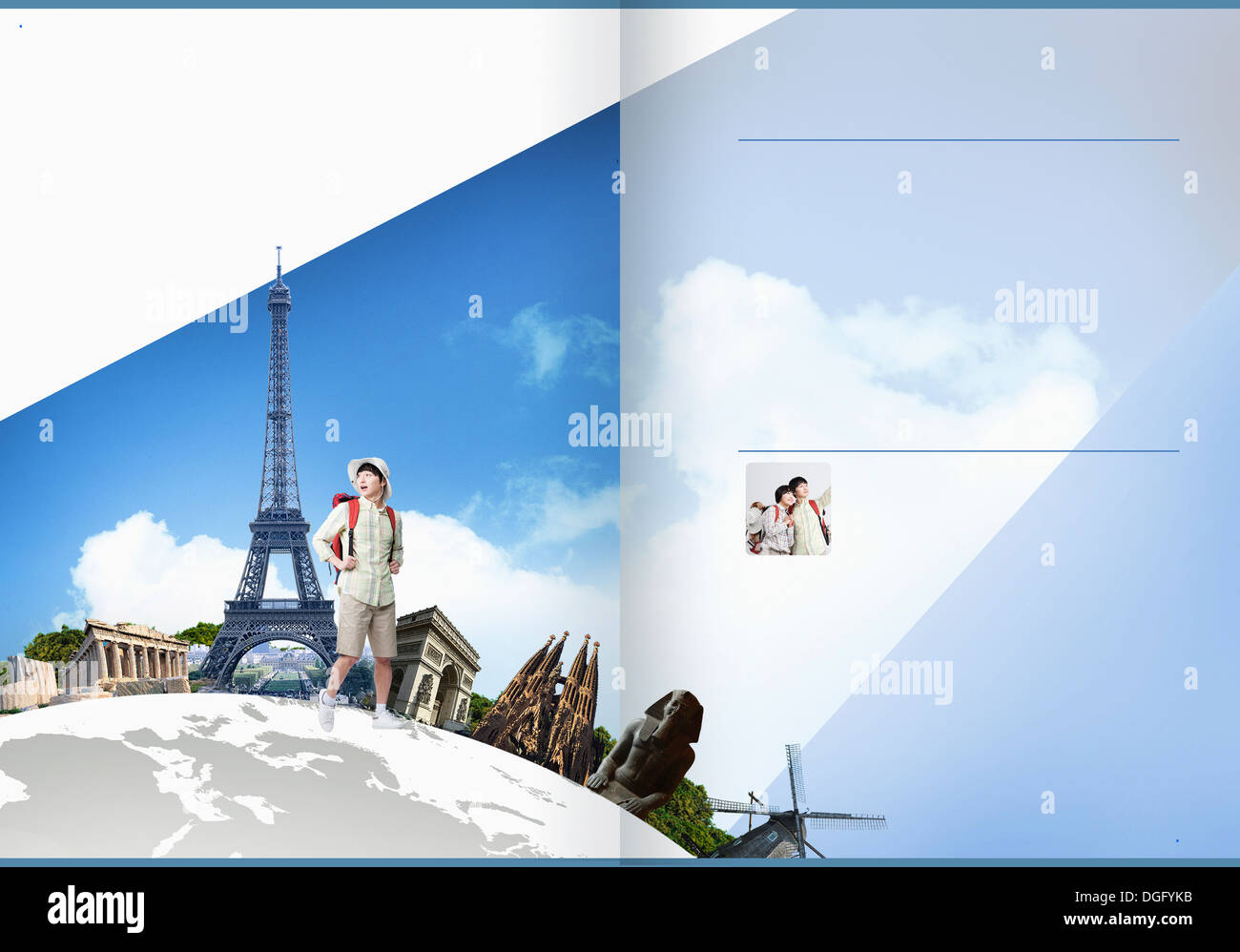 travel booklet template featuring famous stock photos travel