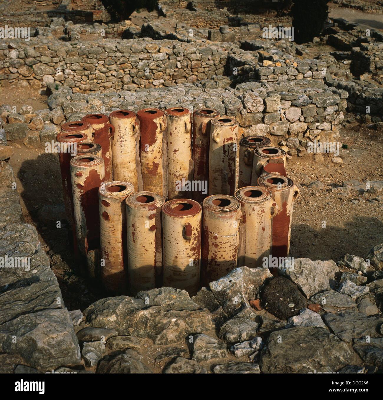 Roman Art. Emporiare (Ampurias). Amphoras. Water filters. Girona province. Spain. - Stock Image