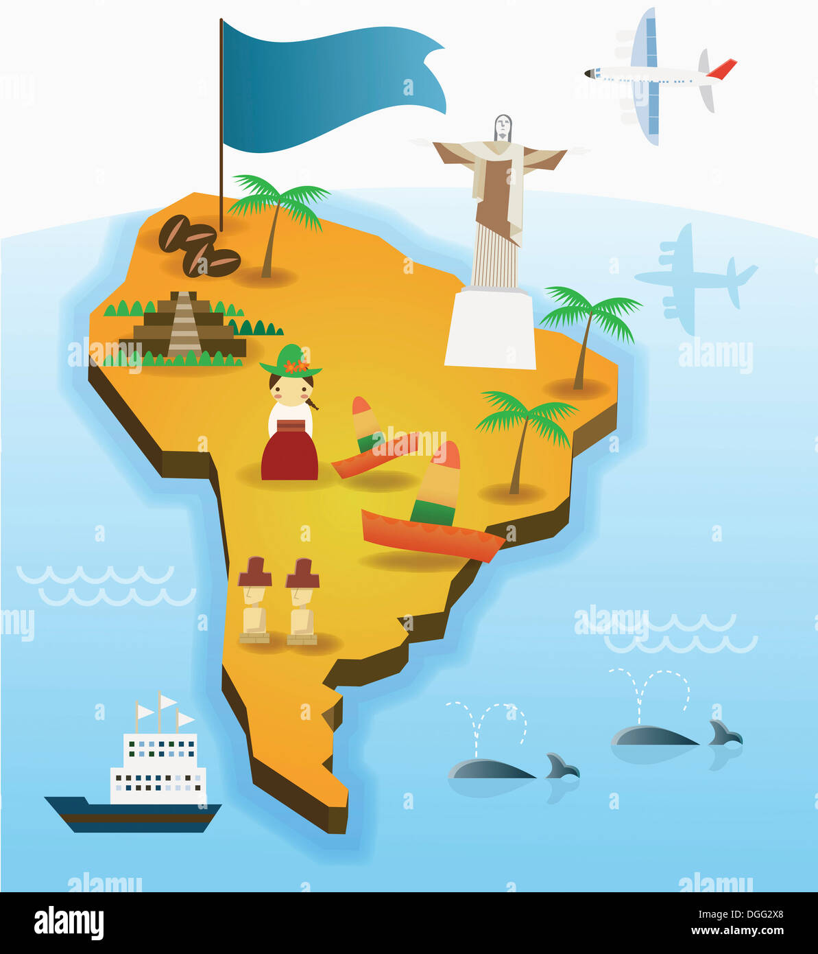 an illustration of the south American map Stock Photo: 61819136 - Alamy