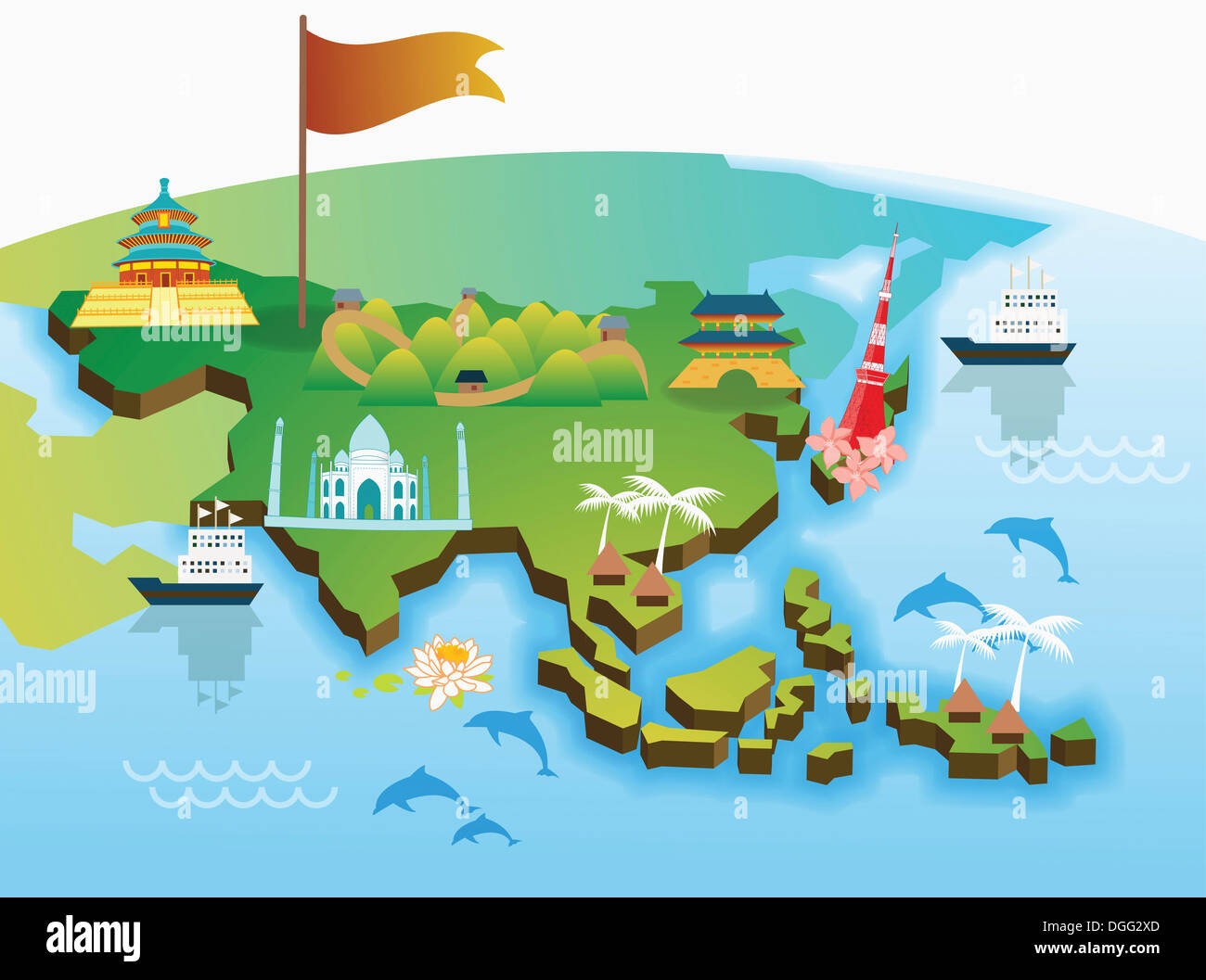 an illustration of the Asian map Stock Photo: 61819141 - Alamy