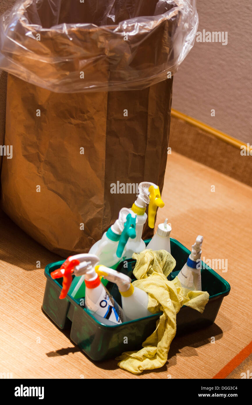 Cleaners sprays and equipment. - Stock Image