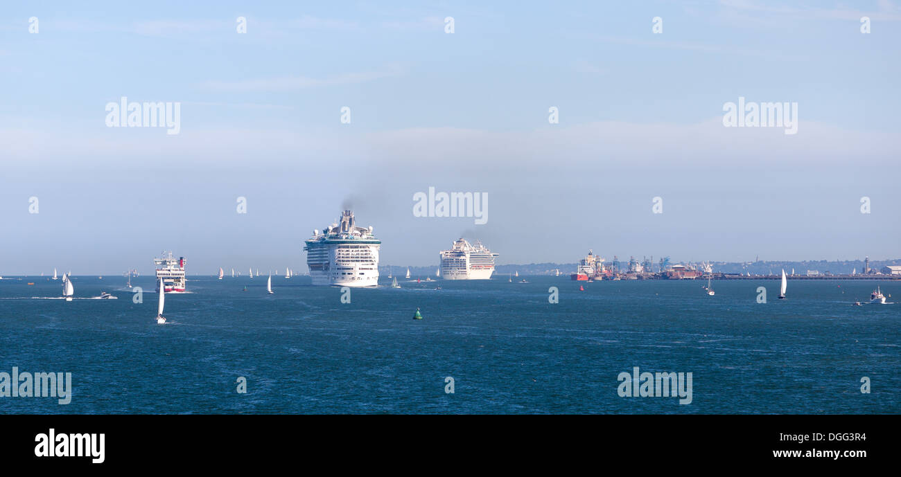 Port of Southampton looking down the Solent at two cruise ships Stock Photo