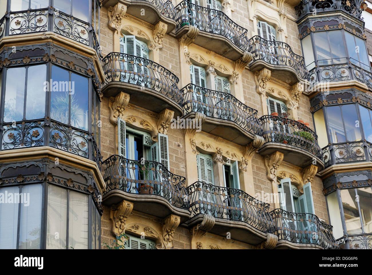 Casa Santurce, Barcelona, Eixample district, Barcelona, Catalonia, Spain, Europe, PublicGround - Stock Image