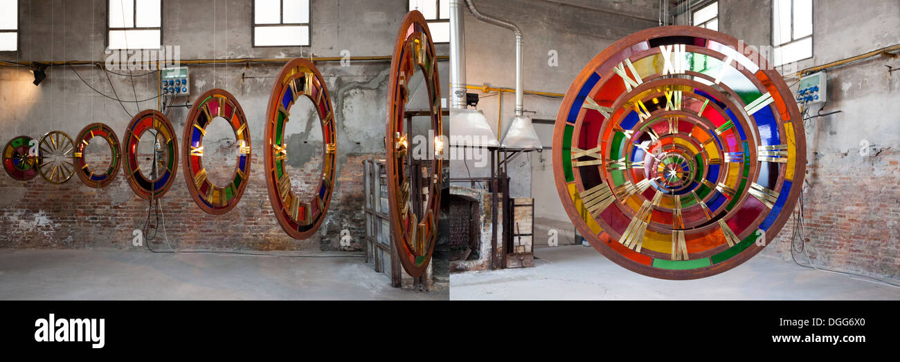 Juxtaposition of two pictures of a Zak Ové's work of art entitled Time tunnel (Murano). Photos juxtaposées de 'Tunnel du temps' - Stock Image