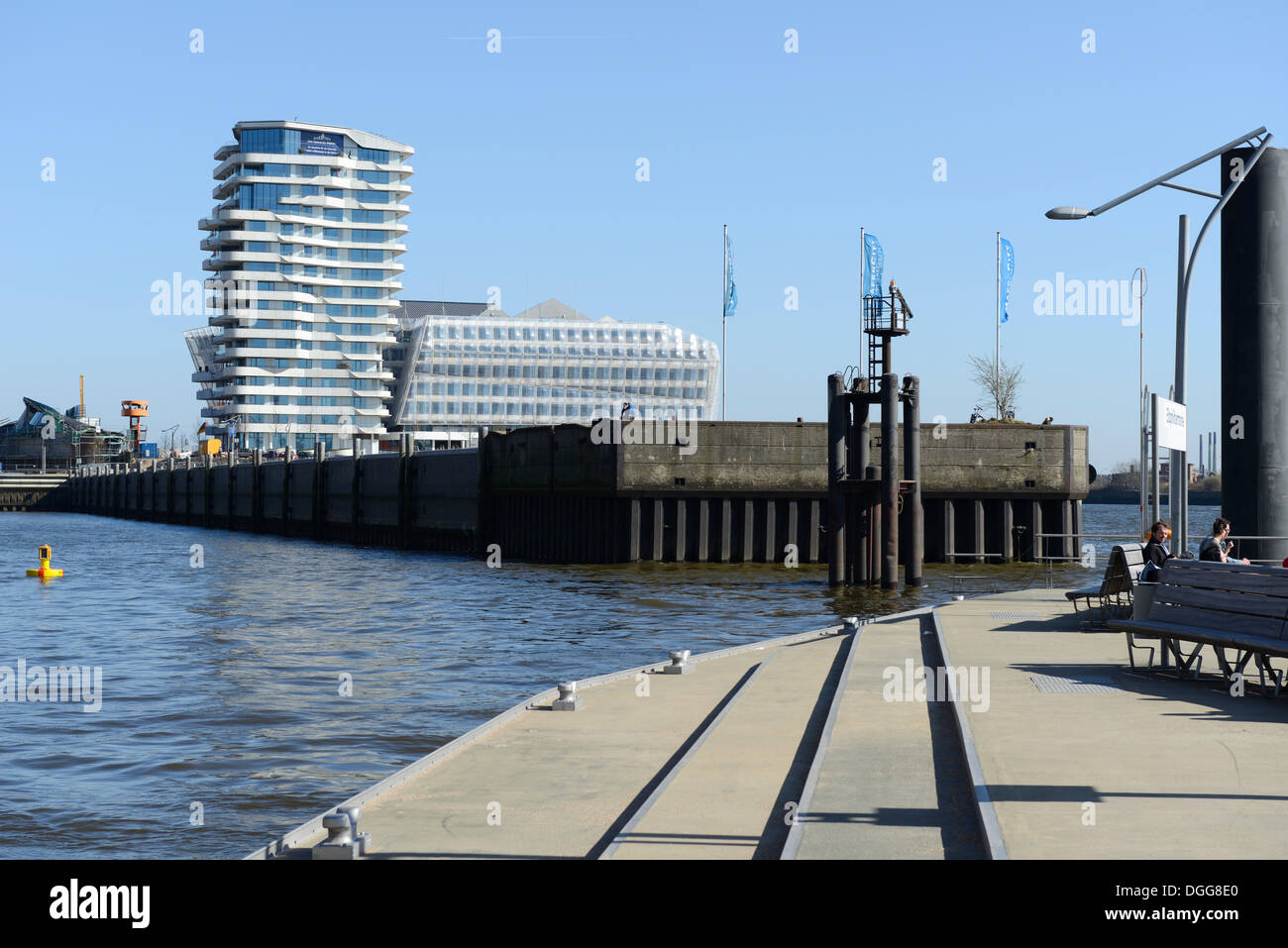 View from the Elbe Philharmonic Hall pier on the Marco-Polo-Tower and Unilever building, Ueberseequartier, Strandkai - Stock Image