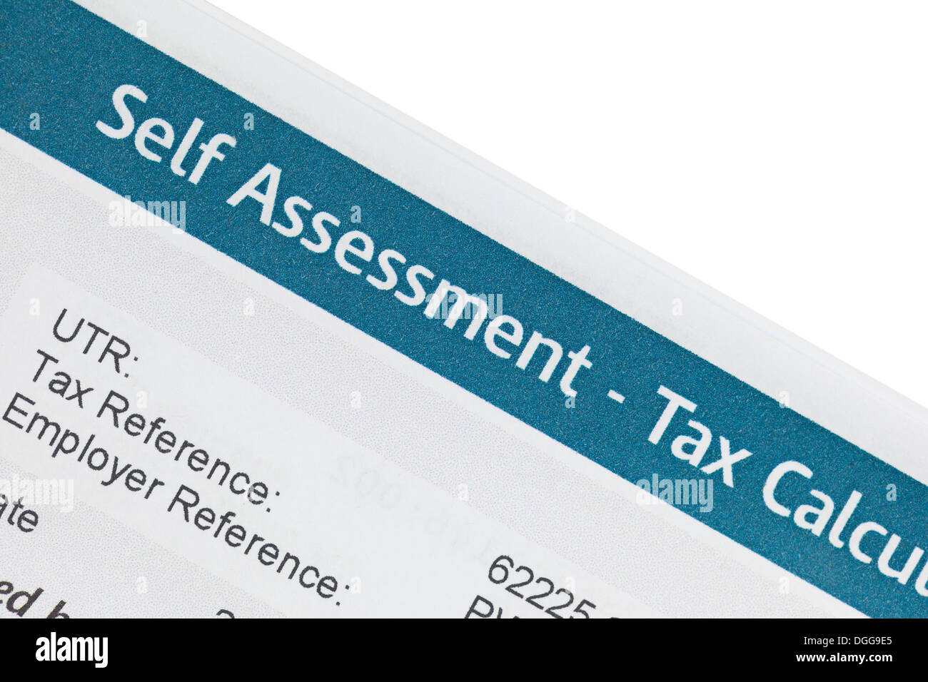 Self assessment tax calculation form - Stock Image
