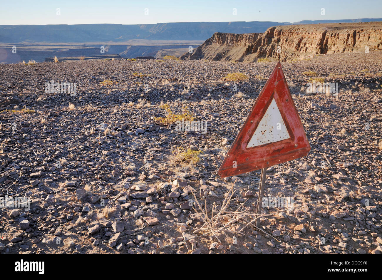 Barrier, exclusion zone, sign, Fish River Canyon, Namibia - Stock Image