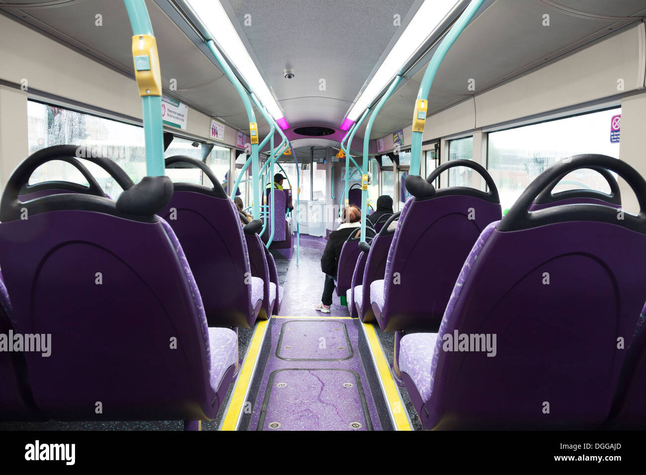 view from rear of single decker public bus - Stock Image