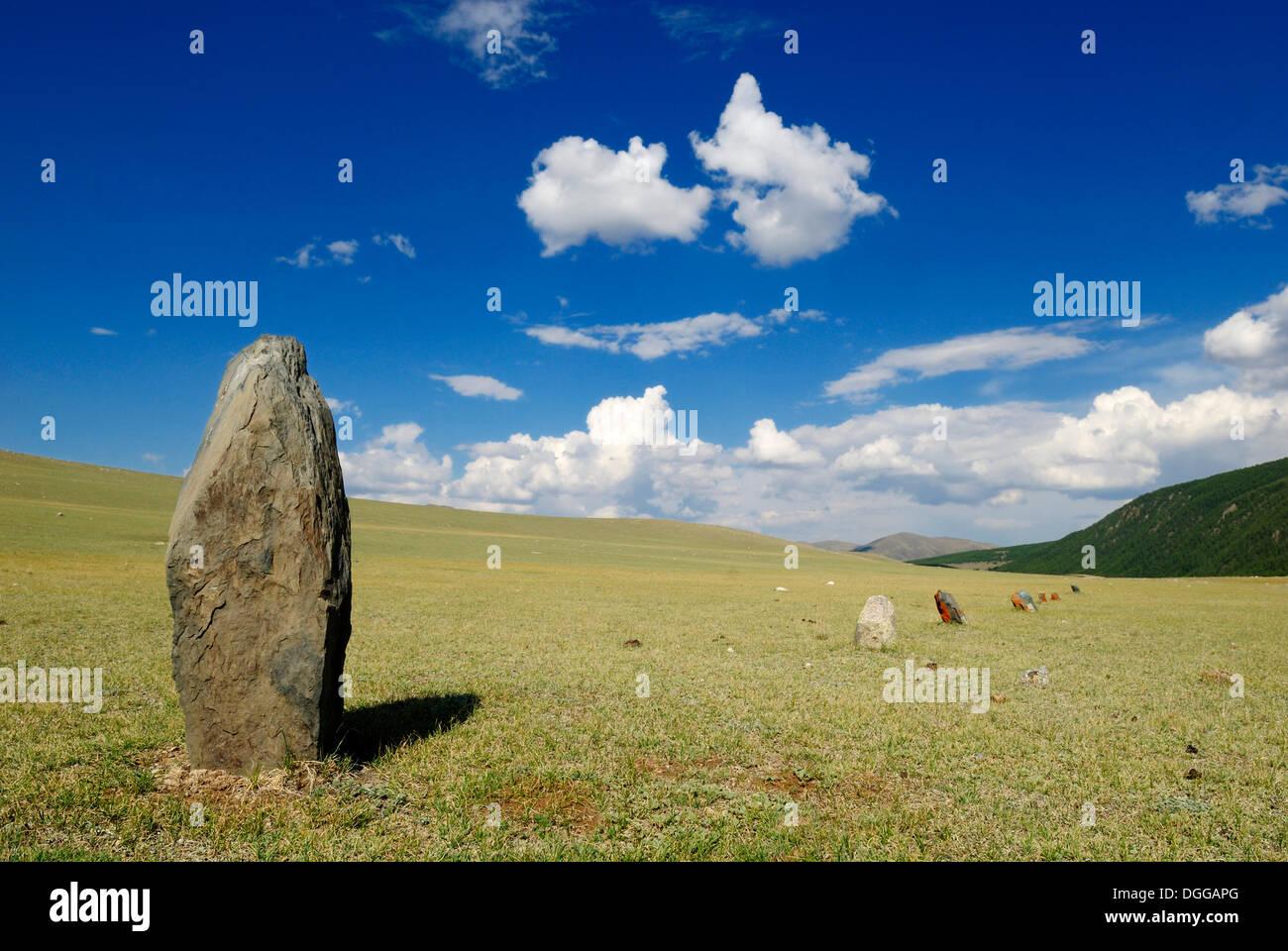 Prehistorical Steinsetzung, Saljugem, Sailughem, Saylyugem Mountains, Chuya Steppe, Altai Republic, Siberia, Russia, Asia - Stock Image