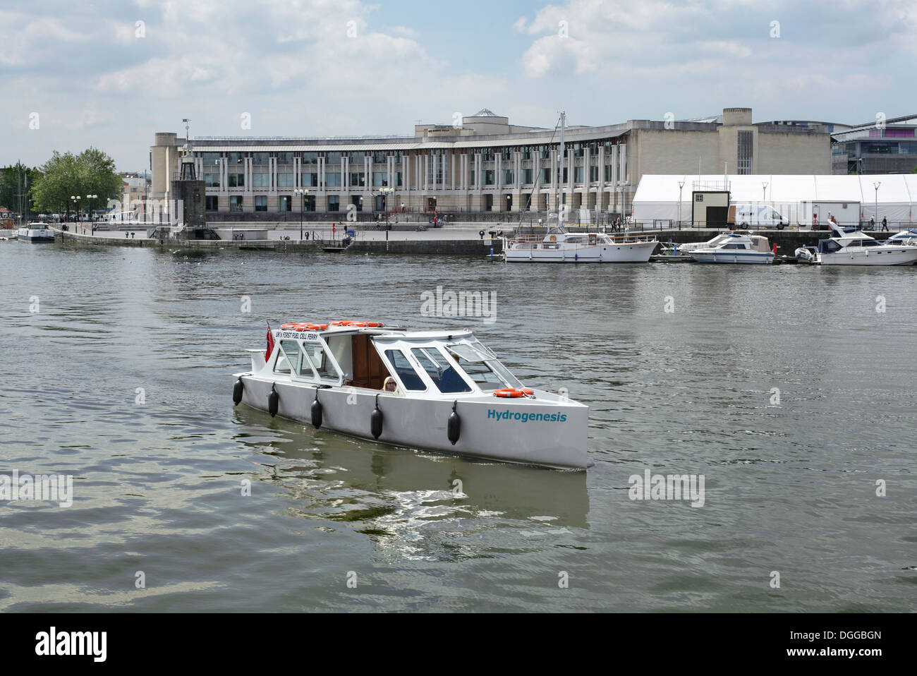 The UK's first hydrogen fuel cell ferry, Hydrogenesis, in Bristol docks. - Stock Image