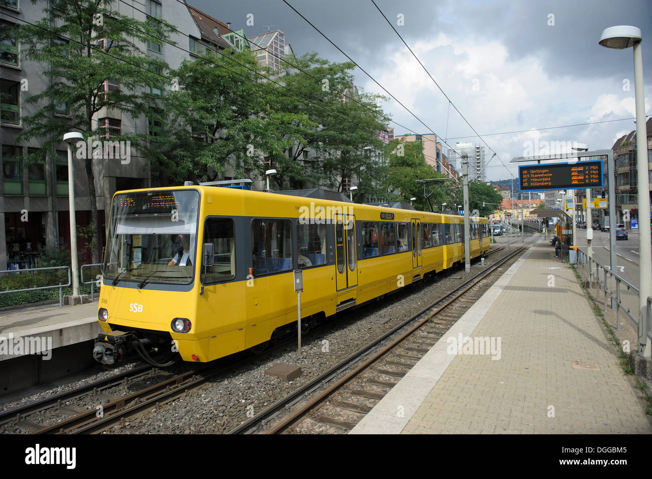 Stadtbahn, light rail line, line U 15, arriving from Charlottenplatz square at the stop 'Olgaeck', Stuttgart, Baden-Wuerttemberg - Stock Image