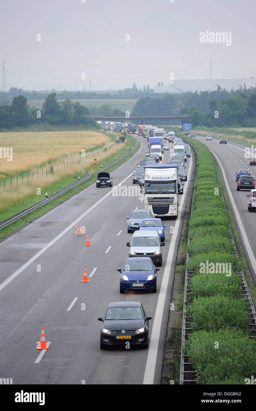 Traffic jam after a rear-end collision on the A 81, Rotenburg am Neckar, Baden-Wuerttemberg - Stock Image
